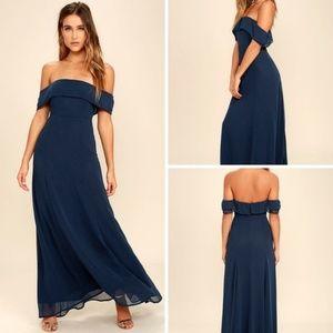 Lulu's Perfectly Poised Blue Maxi Dress NWT